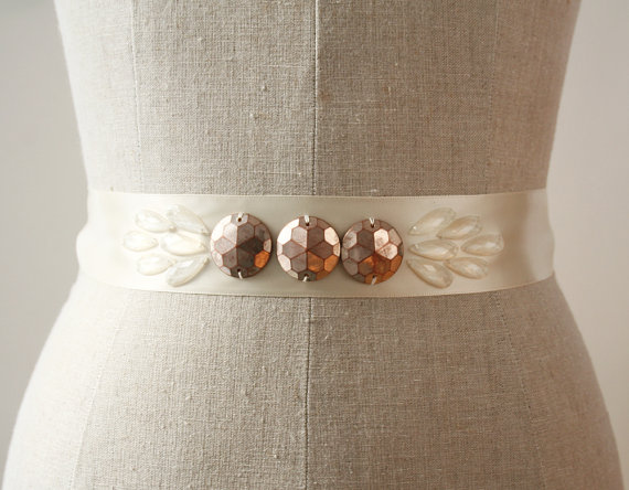 satin dress sash with copper and translucent beads by laura stark