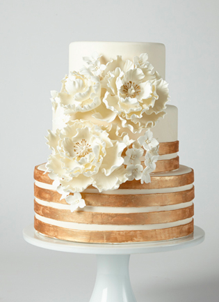 wedding cake with copper and floral details by coco paloma desserts, austin, texas