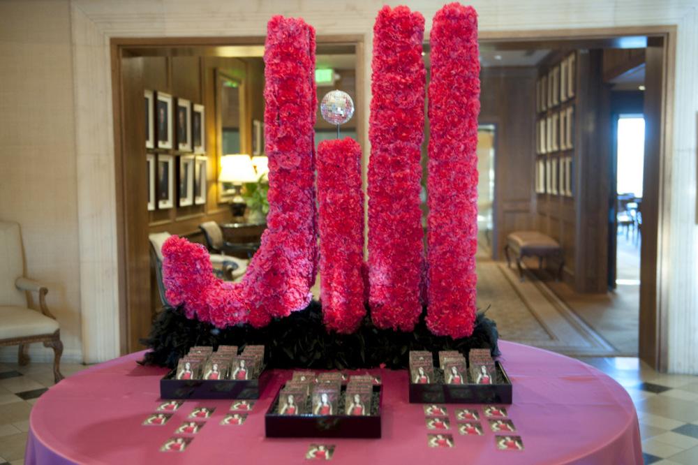 large floral name letters bat mitzvah decor