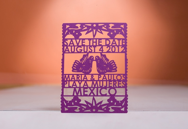 papel picado save the date by avie designs stationery, atlanta, georgia