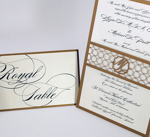 wedding invitation with laser cut belly band by lilian designs, coral gables, florida
