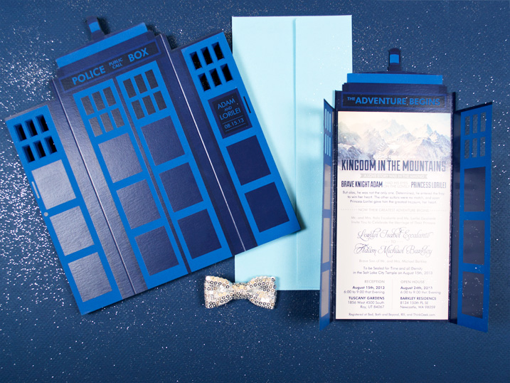 tardis themed laser cut wedding invitation by twelve30 creative, jordan, utah
