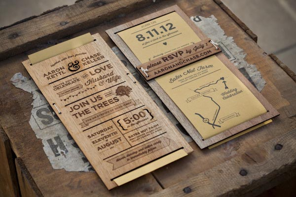 wedding invitation laser engraved on wood by chase kettl