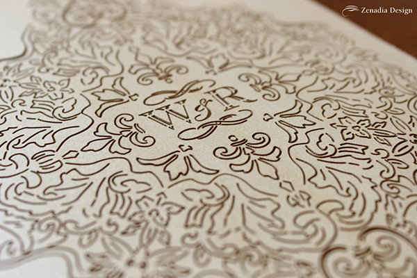 laser cut invitation sleeve by zenadia design, santa barbara, california