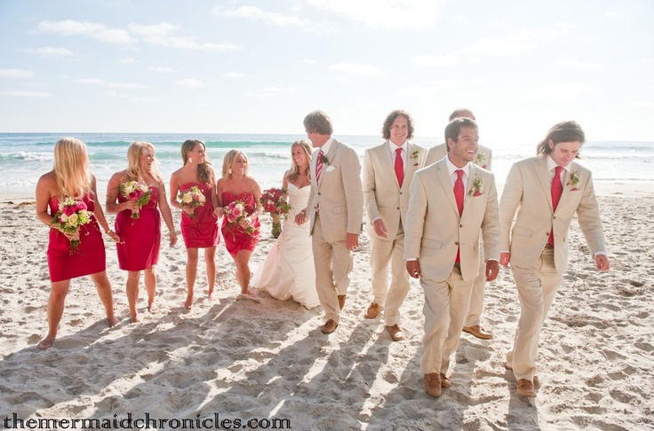 Groomsmen in khaki suits and red ties. Photo by Carson Day, featured on The Tale of a Mermaid.