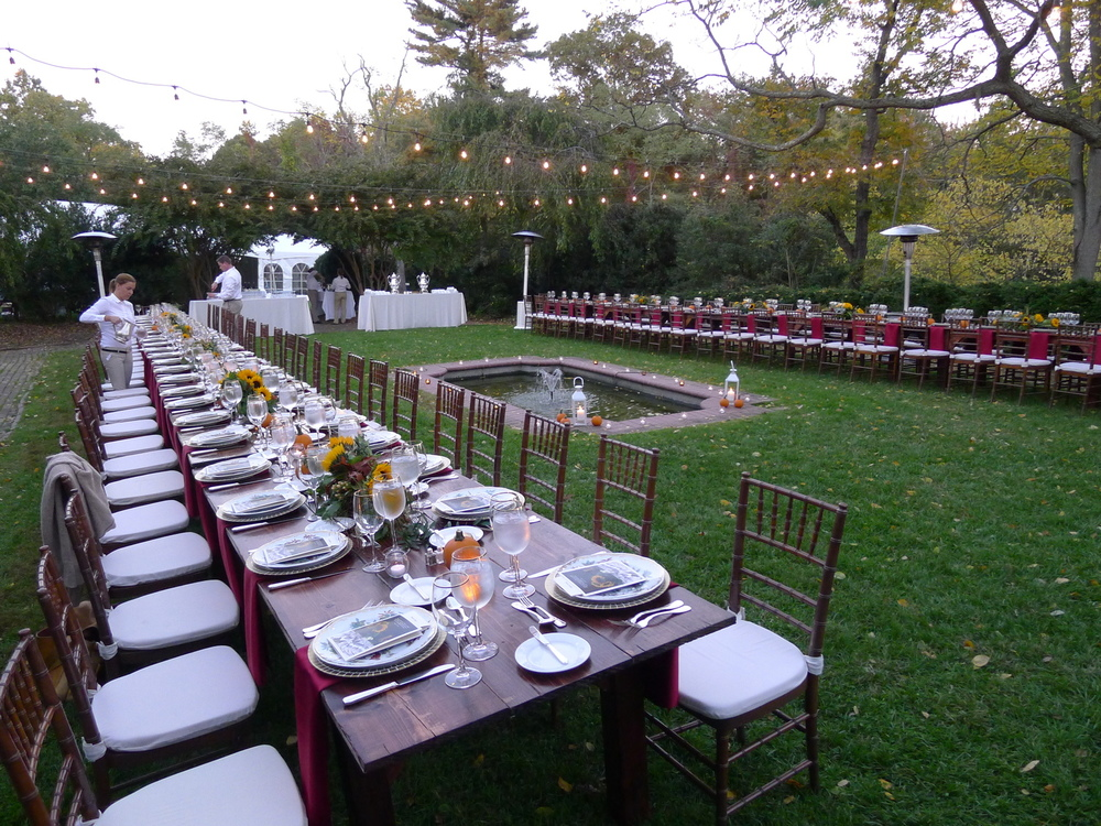 Another image not from the open house, but showing the fountain garden set up for a small dinner. So lovely!