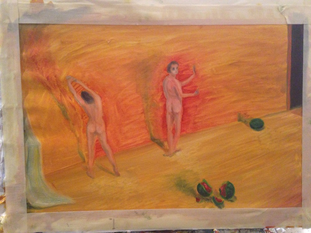 Two figures and watermelon.