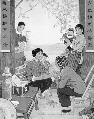 "Figure 3.  Liang Hongtao. 1972.  A Good Physician for the Peasants , propaganda poster. Shanghai People's Publishing House. From Pang, Laikwan. 2014. ""The Visual Representations of the Barefoot Doctor: Between Medical Policy and Political Struggles."""