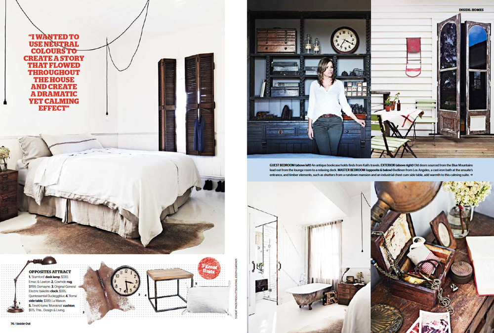 Vintage House Daylesford  story - Interior Design by Kali Cavanagh - Inside Out March 2014