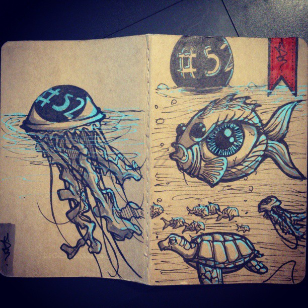 New sketchbook, new cover. Instagram needs a fisheye filter.