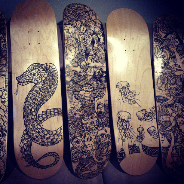 Pretty happy with how these are looking together. Two are sold already #skate #skateboard #draw#ink #deck #blackandwhite #handmade #diy #design #designer #illustration #illustrator #snake #owl #face #eyes #mask #dark #beautiful #jellyfish #tattoo