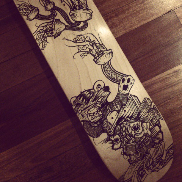 Deck 5 of 9 progress…  #skate #skateboard #deck #handmade #handpainted #custom #oneofakind #illustration #draw #drawing #marker #molotow #posca #penandink #blackandwhite #animal #fish #ink #tattoo #bear #jellyfish #ocean #wooden #floor #sale #diy