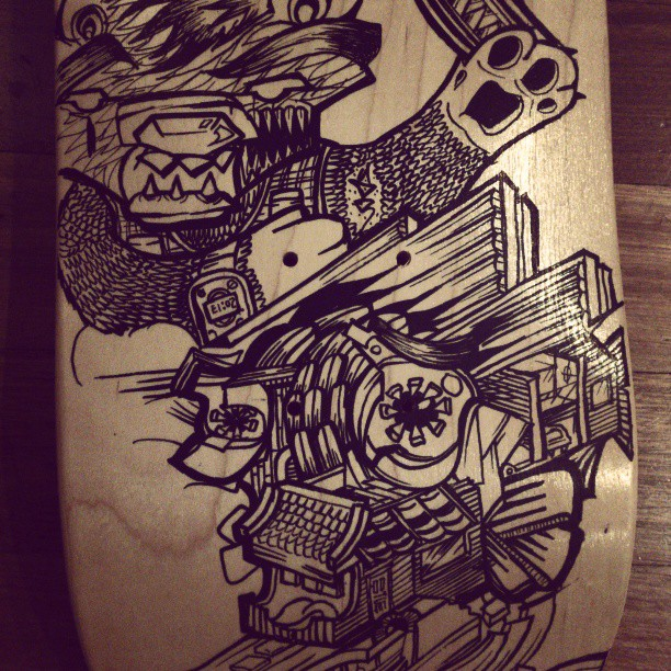 Fish deck details, progress #skate #skateboard #deck #handmade #board #bear #beautiful #face #eyes #animals #cute #surreal #strange #streetart #tattoo #ink #artist #designer #design #graphic #drawing #heapsgood