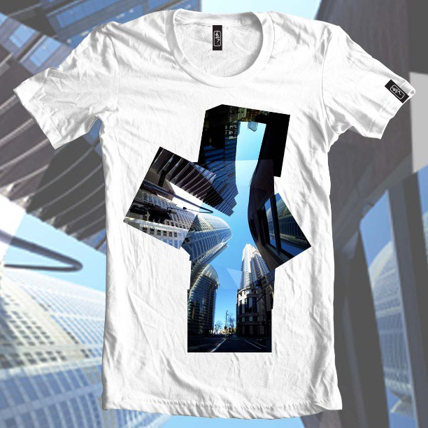 Looks up sometimes. #city #photomerge #skyline #sydney #buildings #architecture #windows #skyscraper #blue #sky #clothing #fashion #tshirt #indie #label #cobra still #whitetee #product