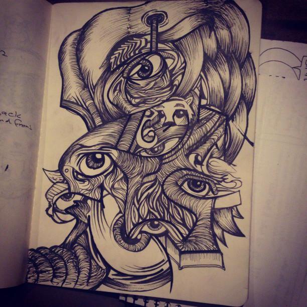 Elephant Line Drawing Tattoo : I — sam shennan sydney graphic artist illustration