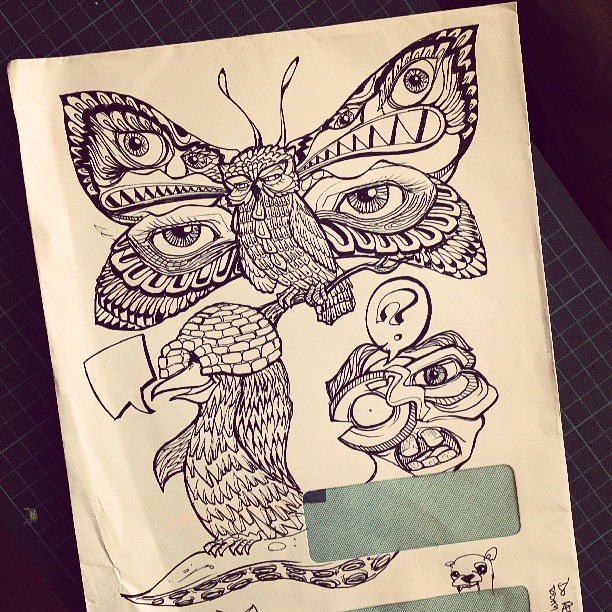 not sure what this is. #drawing #illustration #ink #letter #blackandwhite #penandink #draw #tattoo #strange #bizarre #butterfly #penguin #igloo #worm #tentacle #face #beautiful #beauty #owl #designer #artist #eye #surreal