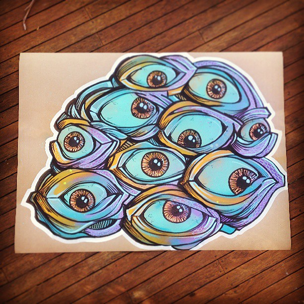 This guys for sale. 86x114cm spray paint on thick pattern paper. #artwork #forsale #spraypaint #marker #ink #eye #purple #blue #illustration #artist #painting #colourful #unique #oneofakind #strange #bizarre #streetart #graffiti #drawing #art #designer