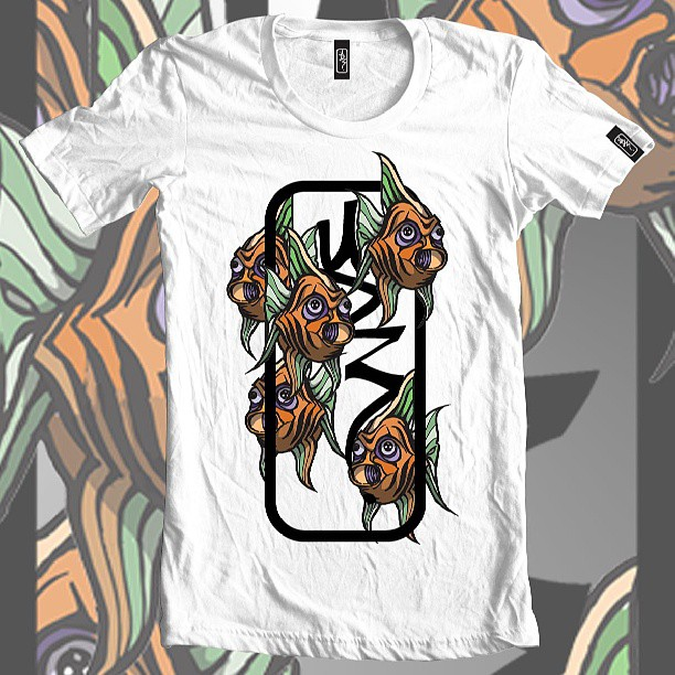 The classic. Fishy logo tee #ud3 #logo #tshirt #clothing #fashion #white #orange # fish #animal #sea #fishing #