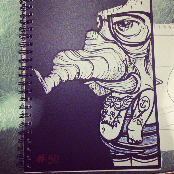Hipster Elephant in his trunks #elephant #hipster #nice #funny #smile #designer #ink #blackandwhite #penandink #bored #tattoo #swimming #swim #beautiful #hairy #eyes #summer #fitness #illustration