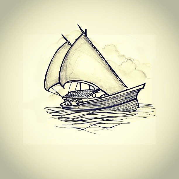 First tattoo design. Can't wait to see it. #tattoo #first #saturdays #sail #simple #nice #ocean #freedom #travel #sea #flash #artist #designer #illustration #ink #blackandwhite #penandink #drawing #smile #open
