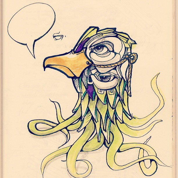 I haven't got anything to say. #speech #speechbubble #alien #strange #octopus #seafood #beak #mask #eyes #bird #cute #small #smirk #illustration #design #designer #artist #follow #ink #sketchbook #moleskine #penandink #copic #colourful #wierd