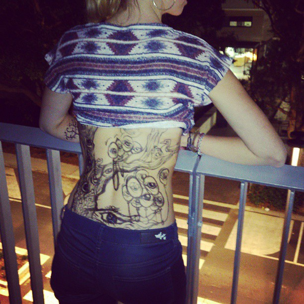 Loose night, got my doodle out #sharpie #fake #tattoo #tree #monday #drinking #beautiful #blonde #swedish #fun #smile #gorgeous #sydney #unibar