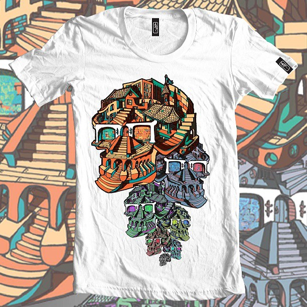 Skull danglers #skull #fun #bright #bold #illustration #surreal #streetart #tshirt #clothing #fashion #orange #print #designer #graphic #artist #glasses #building #skyline #
