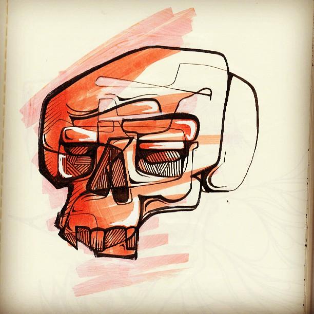 Skull splash doodle #skull #marker #doodle #sketch #quick #red #sketchbook #drawing #illustration #ink #penandink #copic #designer #artist #skull #teeth #eye #bored