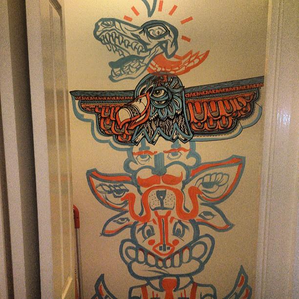 The start of something fun #mural #painting #hugr #detailed #illustration #streetart #marker #ink #totem #indoor #large #illustration #designer #tribal #red #blue #molotow #animal #
