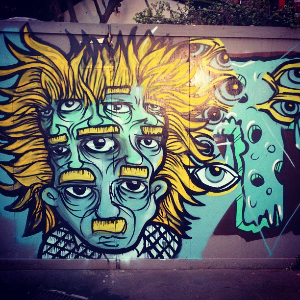 Chill Sunday session with  @workshopaus and friends #streetart #graffiti #spraypaint #art #artist #sydney #illustrator #designer #paint #eyes #hair #facesinplaces