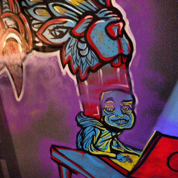 Details of purple haze mural at project 8 on Broadway. #cans #markers #streetart #bar #project8