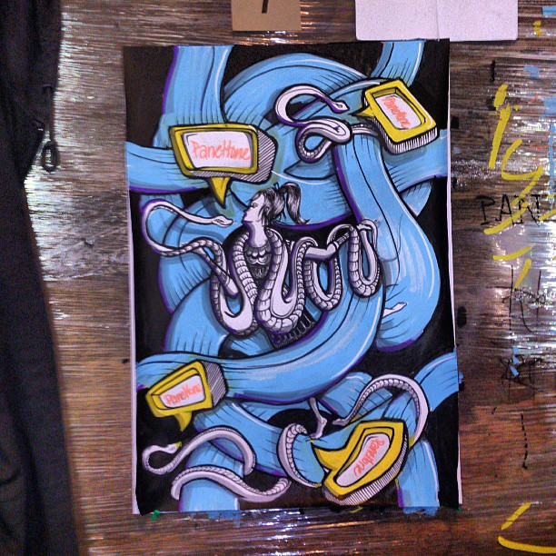 Live art night, 14 artists battling it out @saltmeatscheese tonight. Good bloody fun. #painting #streetart #illustration #snake #packaging #blue #snake #dance #speech #posca
