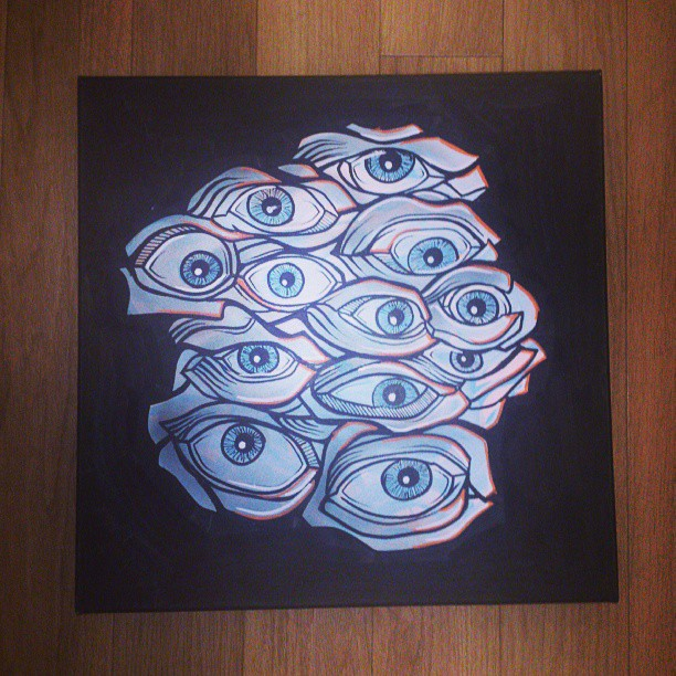One of the pieces for tonight's opening at #project8Cafe #art #artshow #eye #eyeball #canvas #artist #designer #streetart