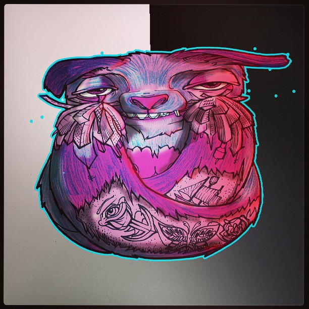 Spaced out pet.#illustration #drawing #digital #cute #animal #stoned #pink #ink #Sydney #artist #Newtown #eyes #smile #redeye #tattoo #colourful