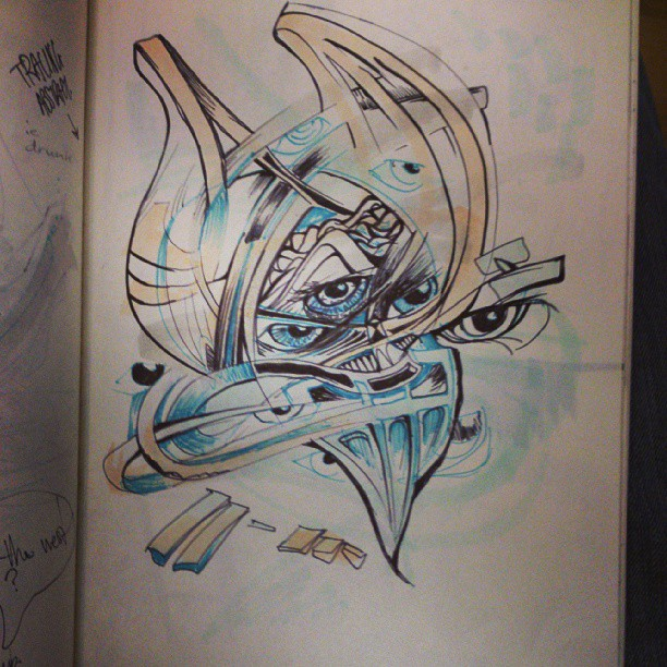 Tracing the abstract. #illustration #art #bird #abstract #eyes #sketchaday #sketch #moleskine #sydney #