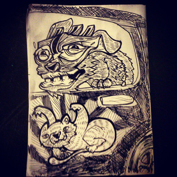 Windows down on the pussy mobile #illustration #dog #pet #cat #cute #pussy #blackandgrey #drawing #draw #penandink #art #artist #graphicdesign #sketchbook #sketchaday #followme #moleskine #artline #creative #eyes #cute #window