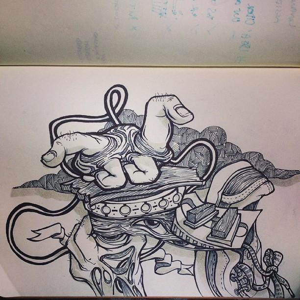 Finger turtle. Doodling on podcasts binge. #illustration #surreal #professionalillustrator #artist #designer #tattoo #ink #penandink #draw #marker #drawing #doodle #surrealism #animal #turtle #cute #hands #texture