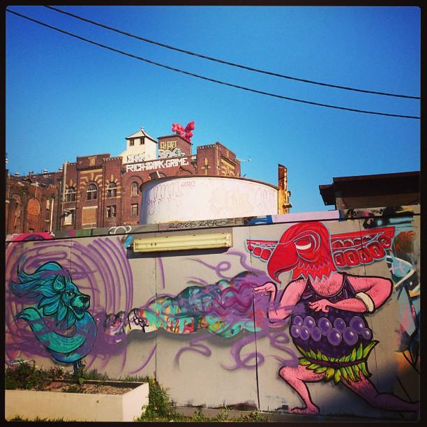 Shamaking friends. Sunday spray sesh @workshopaus #painting #streetart #mask #tribe #magic #colourful #fruit #graffiti #mtn #loincloth #bird #animal #pet #wall #hat #hair #nice #eyes #gymjunkie #selfimprovement #artist #sydney