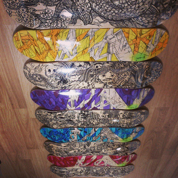 The whole quiver of decks on display at Work-Shop #skateboarding #customdecks #forsale