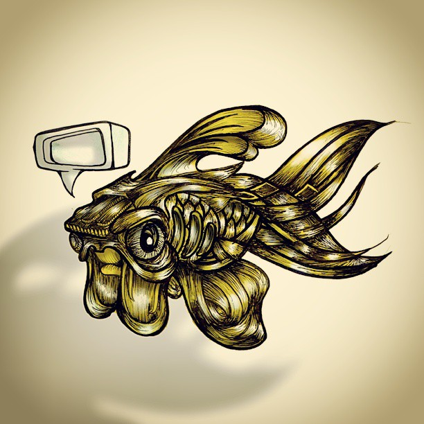 Thoughtless goldfish. #goldfish #fish #illustration #ink #tattoo #artist #art #designer #cute #small #animal