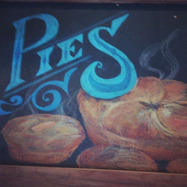 Pies chalkboard. #type #handtype #pie #bakery #signwriting #lettering #baked #illustration #artist