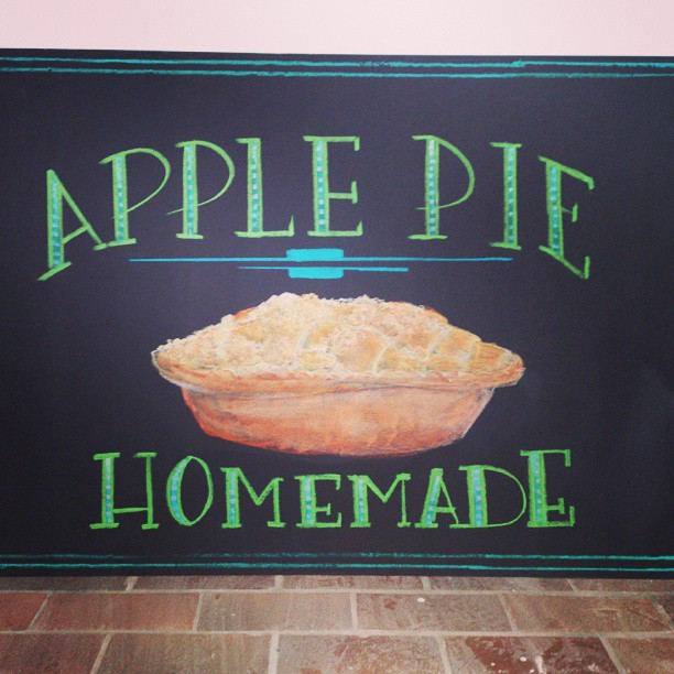 Mmm apple pie. Some lettering and pastel signage I did.