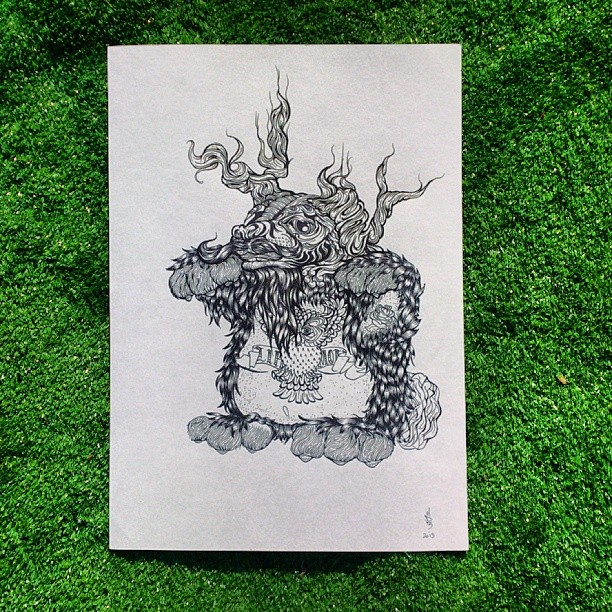 A jackelope lurking in the grass. A3 ink.
