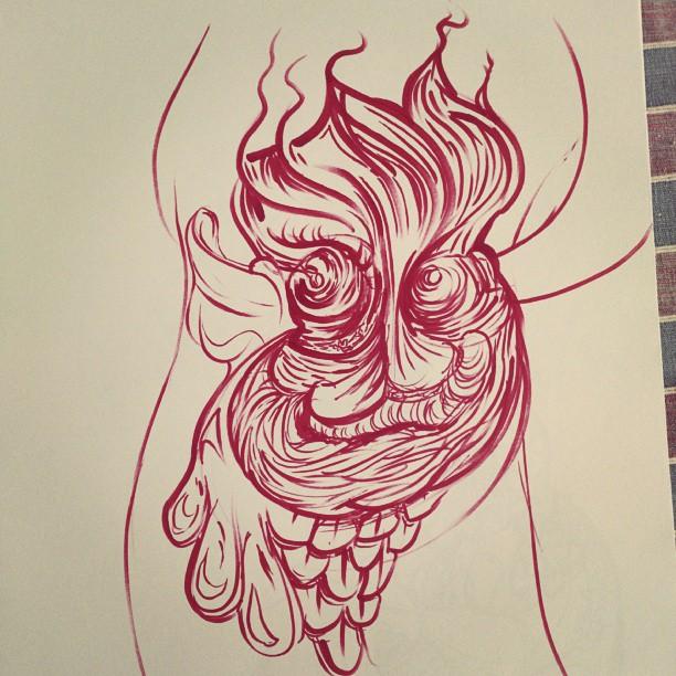 Handbag face. #illustration #undersea #brushpen #red #artist #illustrator #sketchbook #doodle #drawing #sketchaday