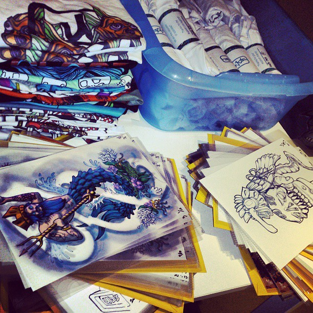 Prep for the live art night at Abercrombie on sat arvo. Tees and merch is gunna be available for sale…