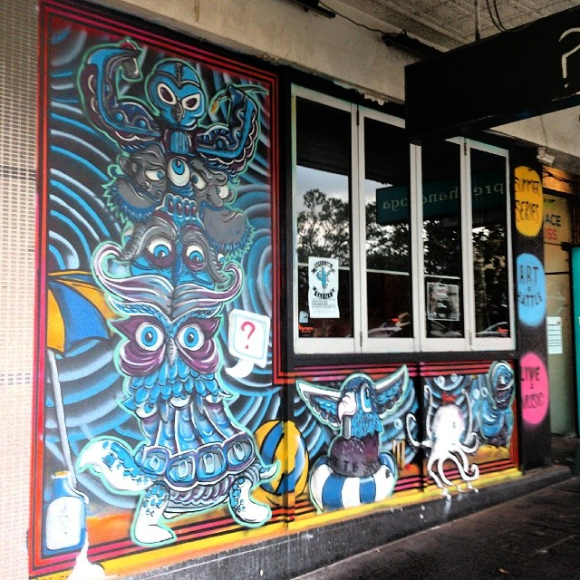 Shop front , Name This Bar in Sydney.   Starting art battles from Thursday.   #streetart #mural #graffiti #typography #signwriting