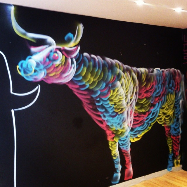 Psychedelic bull at Work-Shop demolishion spray day. Such a fun time. #mtn #streetart #psychadelic