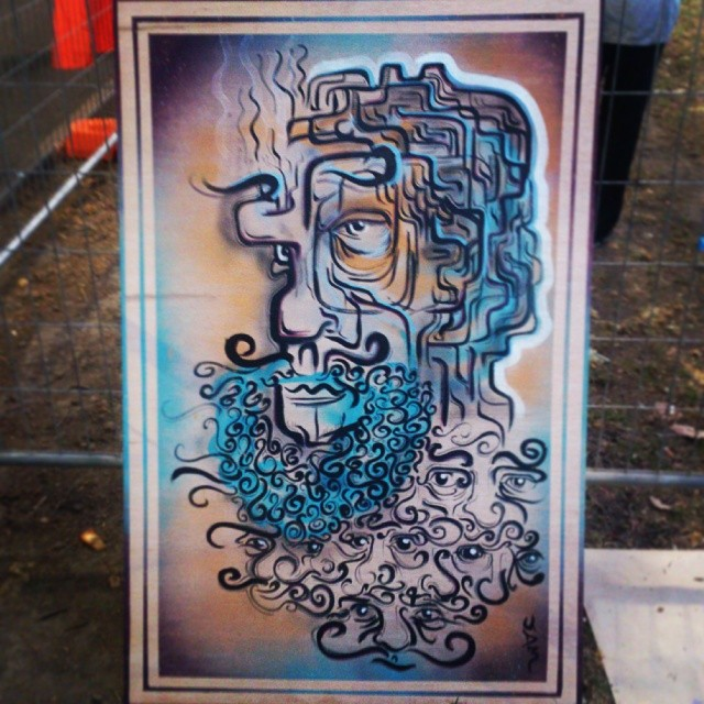 Painted this beardy fella at food trucks event in Sydney last night. Cheers @mulgatheartist for the hookup. #streetfest