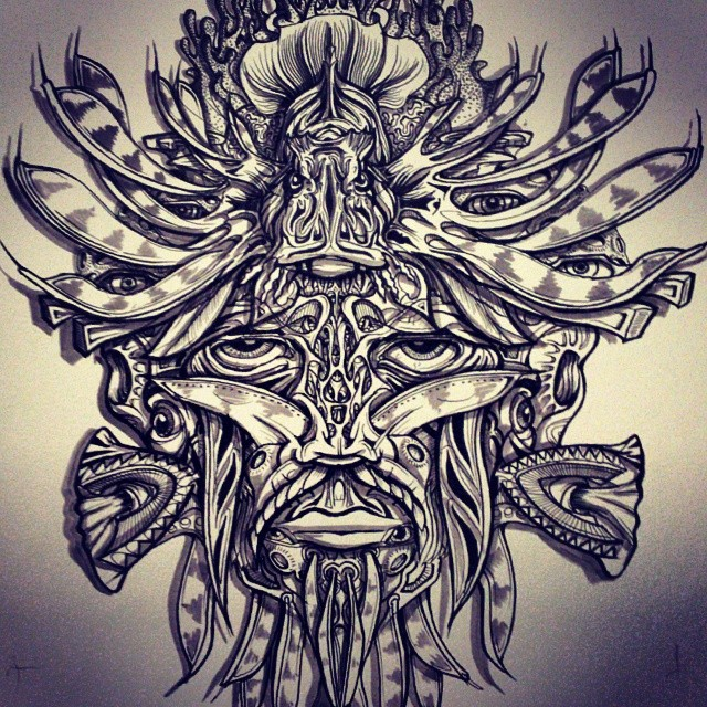 A lionfish shaman. #trippy #face #mask #magic #shaman #Illustration #drawing #detailed #ink #inkonpaper #penandink #tattoo #art #wigout #wtf #seacreatures #ocean #animal #fish