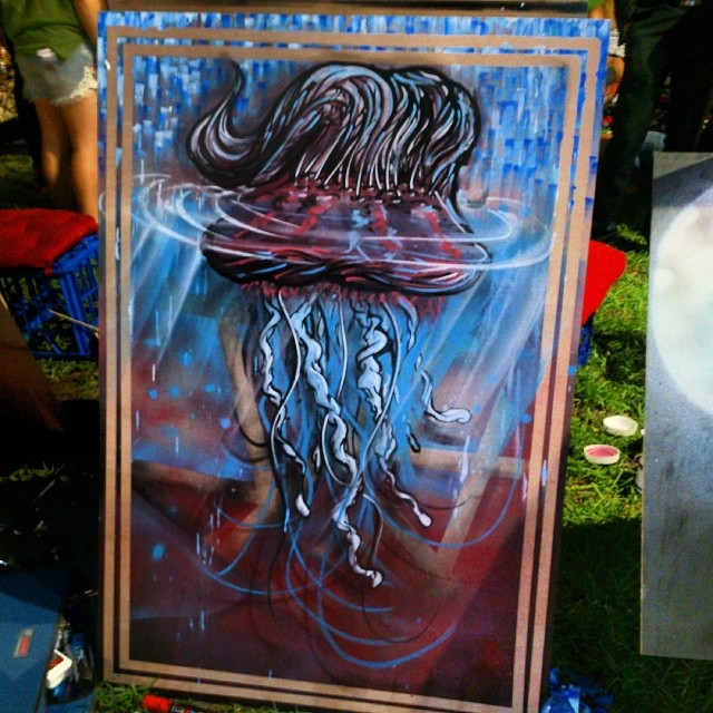On the menu tonight: Jelly fish with a quif. Painted at Food truck's live art first Fridays. It's such a rad event, good vibes, cool crowd art and beers